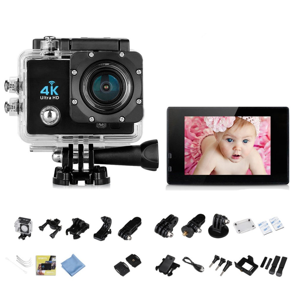 Galleria fotografica 4K 16MP 170 Degree WiFi 30M Waterproof Full HD DV Sports Camera 1080P WIFI Sports Action Camera HDMI Video DV Camera Bike