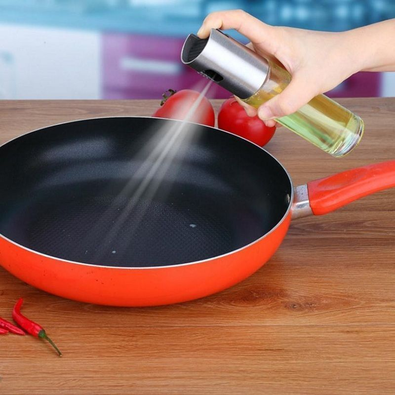 Cooking Oil Pump Spray Bottle Olive Can Tool Pot Cooking Kitchen Stainless Steel Glass image
