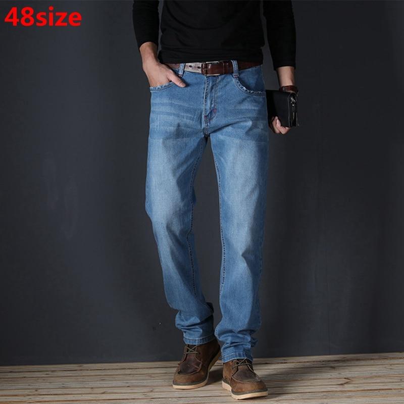 Large Size Men's Jeans Men's Straight Slim Mid-rise Men's Jeans Large Size Stretch Jeans Men's Straight
