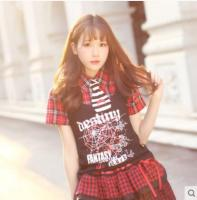 Princess Sweet Lolita T Shirt Dolly Delly Punk Harajuku Wind False Two Scotland Plaid T Shirt