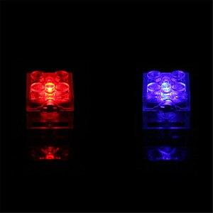 Image 5 - 5 teile/los Leucht Blöcke LED Licht Diy Strobe Leucht Doppel Lampe Bunte Licht Zubehör Ziegel Spielzeug für Kinder