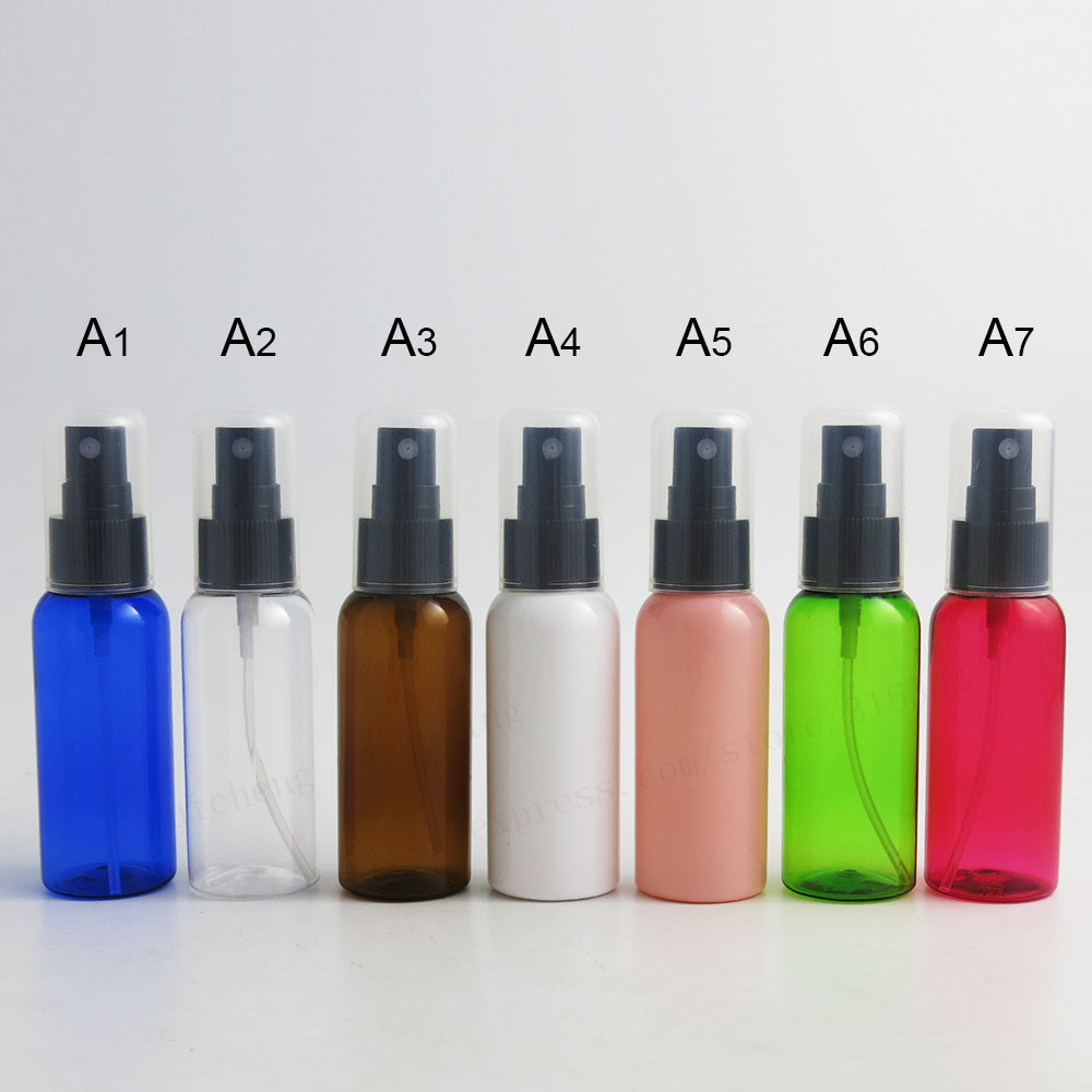 US $32 09 8% OFF 50 x 50ML Travel blue amber green red pink plastic mist  sprayer perfume bottle parfume atomizer with full cover -in Refillable