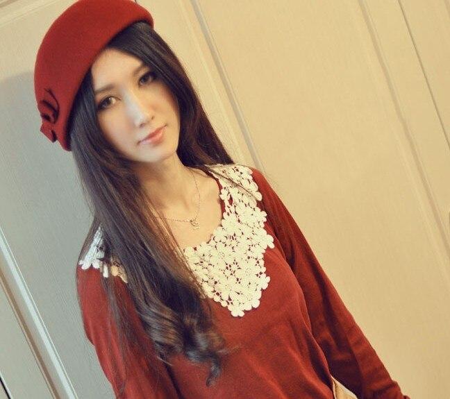 Divat női HAT őszi és téli vintage íj gyapjú fedoras sapka - Ruházati kiegészítők - Fénykép 5