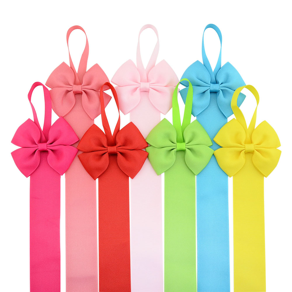 26 inches length Girls Solid Color Ribbons Hair Bow Holder Handmade Girl Barrette Holder Princcesss Hair Accessories 12Pcs/set