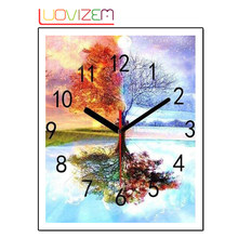 Pintura diamante terras cape tree clock 5d diy diamantes bordado strass ponto cruz bordado papel de parede. luovizem l170(China)