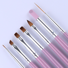 7Pcs Nail Brushes Set Pink Handle UV Gel Gradient Liner Brush Acrylic Painting Pen Cuticle Pusher Manicure Nail Art Tools Kit(China)