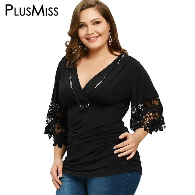 Plusmiss Plus Size 5xl Ruches Lace Haak Top Met Ketting Vrouwen
