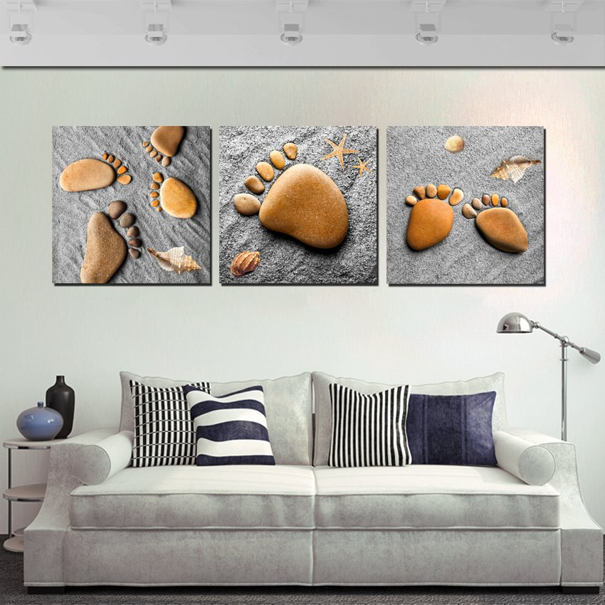 Home Decoration 3 Pieces No Frame Art Picture Canvas Prints Stone Footprints Mountain River Tree