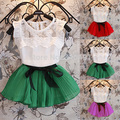 Girls Kids Chiffon Lace Floral T-shirt+ Bow Skirts Outfits Party Tutu Dress