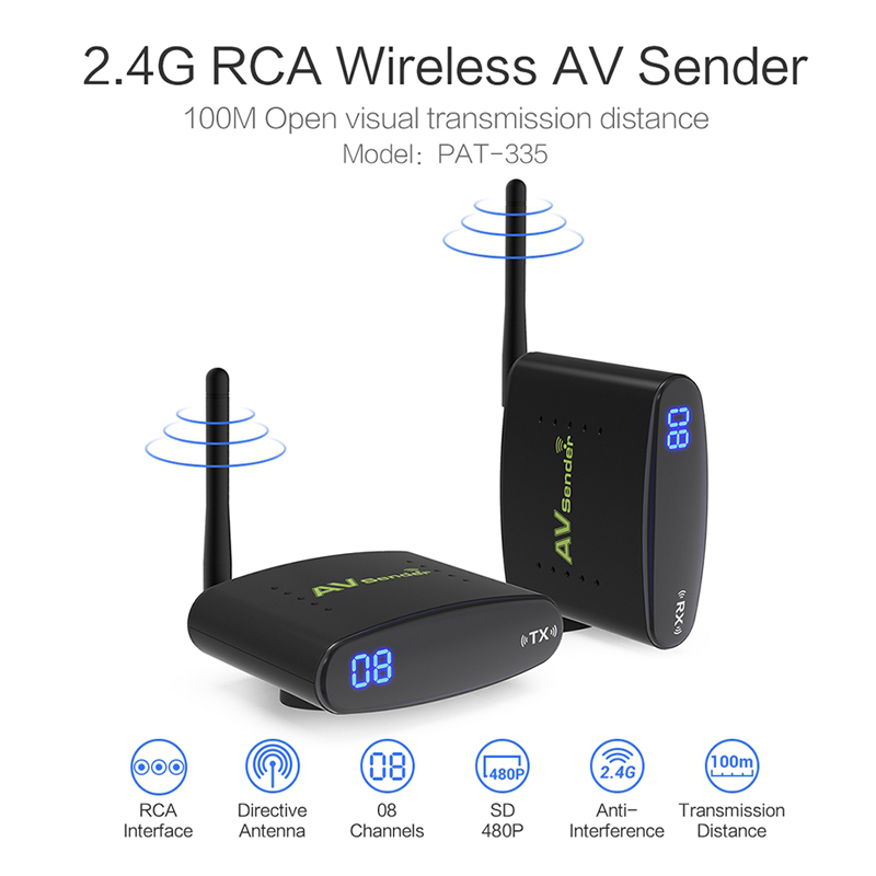 PAT-335 SD 2.4ghz 480p 100m wireless av transmitter and receiver for tv CCTV camera security productsPAT-335 SD 2.4ghz 480p 100m wireless av transmitter and receiver for tv CCTV camera security products