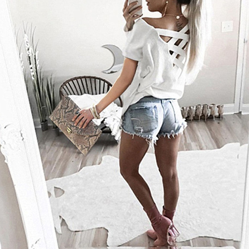 Fashion Womens casual Tops hot sale 2018 summer fashion solid color short sleeve round neck sexy Back cross T-Shirt camisas