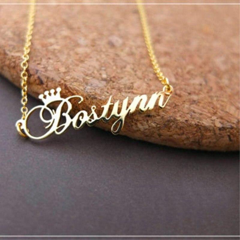 Benutzerdefinierte Krone Name Halskette Personalisierte Schmuck Silber Rose Gold Edelstahl Typenschild Choker Halskette Frauen Brautjungfer Geschenk
