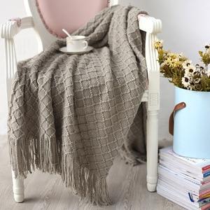 Image 3 - Knitted Throw Travel Blanket Grey Yellow Black Grey Sofa Throw Blanket Tassels Air Condition Blanket Diamond Acrylic 130x170cm