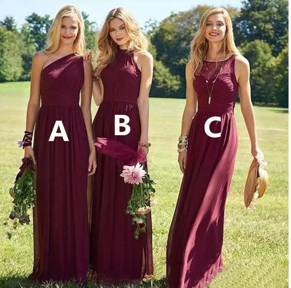 2019   Bridesmaid     Dresses   Burgundy Chiffon Sleeveless Wedding Guest Wear A Line Custom Made Sweep Train   Bridesmaid   Party   Dress