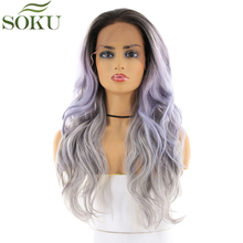 SOKU Synthetic Lace Front Wigs Long Wavy Ombre Purple Grey Free Part