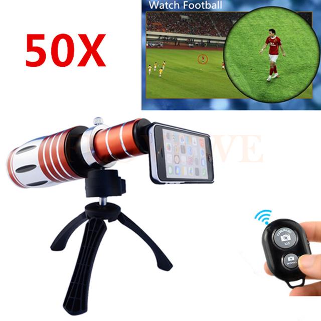 2017 50x metal teleobjetivo lentes de zoom telescopio lente de la cámara para samsung galaxy S3 S4 S5 S6 S7 borde nota 2 3 4 5 Bluetooth control