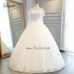 Liyuke Лодка декольте бальное платье свадебное платье из тюли со шнуровкой с без шлейфа на шнуровке, для невесты платье Vestido de casamento