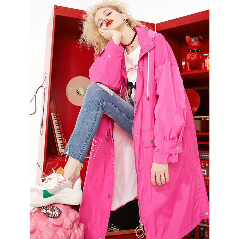 ELFSACK 2019 New Elegant Trench Woman Casual Full Solid Women Trench Coats Wide-waisted Loose Ladies Trench Solid Femme Coats
