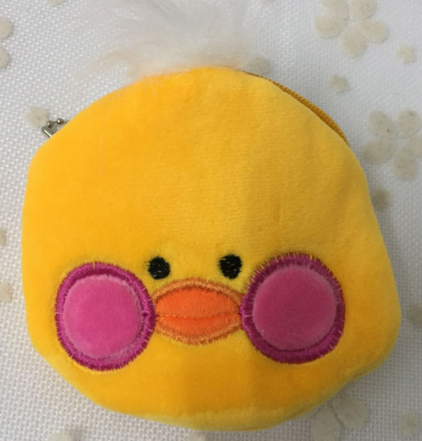 New 10cm Yellow Duck Lady Girls Plush Coin Purse Bag Gift Key Chain Coin Bag Coin Wallet Pouch