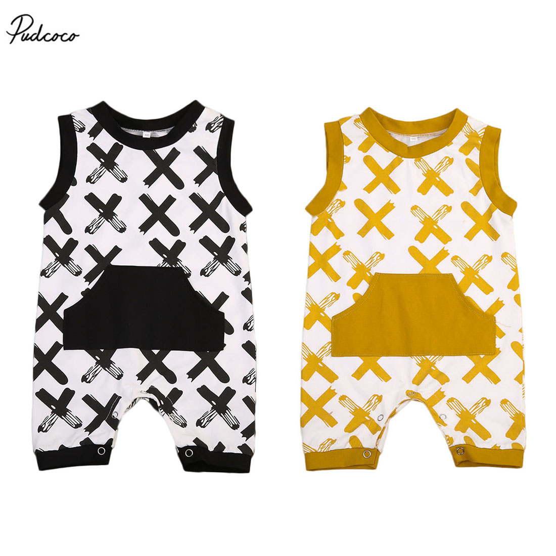 Cute Toddler Baby Boys Girls Summer X Print Romper Sleeveless Large Pocket Jumpsuit Playsuit Outfits Clothes 0-18M