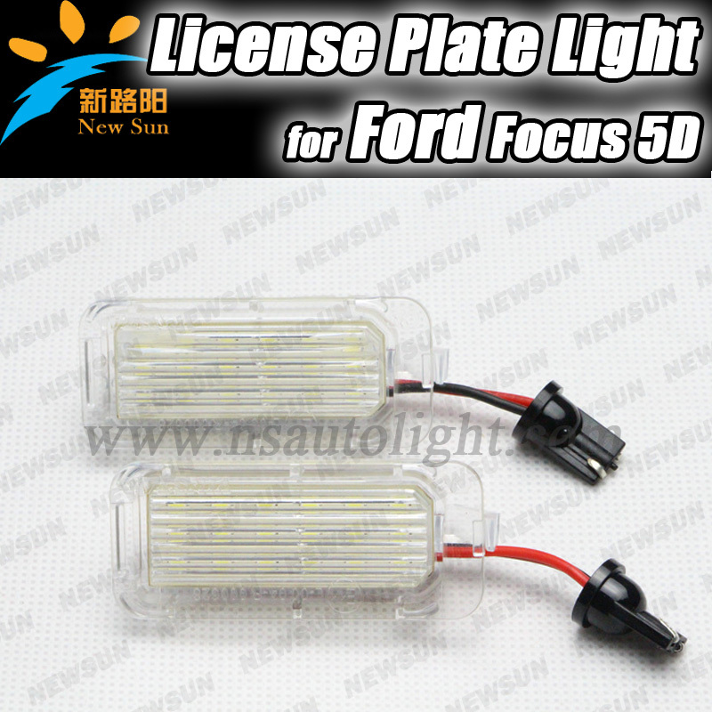 2pcs 7000K White 18 SMD LED License Plate Lights Lamps for Focus 5D(09~) Mondeo(08~) Fiseta(09~) Car Tail Number Lights 2pcs car led license plate lights 12v white smd3528 led number plate lamp bulb kit for ford focus c max 03 07