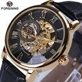 2017 forsining fashion design negro reloj de oro de la mano del viento reloj mecánico de los hombres de cuero negro banda relogio masculino envío gratis