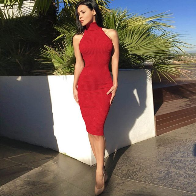 SUNNOW 2019 Summer Sexy Backless Dress Women High Neck Hollow Out High Waist Slim Long Dresses Ladies Sexy Club Party Vestidos