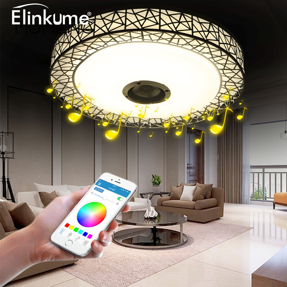 Apprehensive Elinkume Rgb Ceiling Light 36w Dimmable Colorful Party Lamp Bluetooth Speaker Music Audio Luminaria Metal Acrylic Led Lamp Sufficient Supply Ceiling Lights Ceiling Lights & Fans