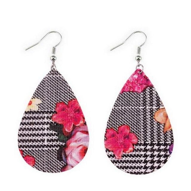 New Faux Leather Teardrop Earrings 2018 Fashion Jewelry Printed PU Leather  Earrings for Women 68fd87a3fa3a