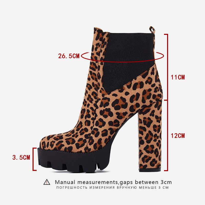 2019 Moda Bayan Botları Leopar Baskı Süet Kadın Tıknaz Topuklu Ayak Bileği Patik Avrupa Tarzı Bayanlar kısa çizmeler Şişeler Femme