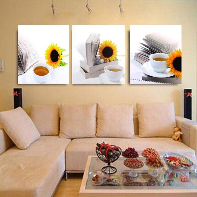 3 Paneles Moderno Lienzo Pinturas Girasol Pared Arte Modular Fotos