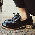 Plus Size 34-43 Genuine Leather Women Shoes Lace up Flats Round Toe Cow Patent Leather Black Oxfords Strange Style Casual Shoes