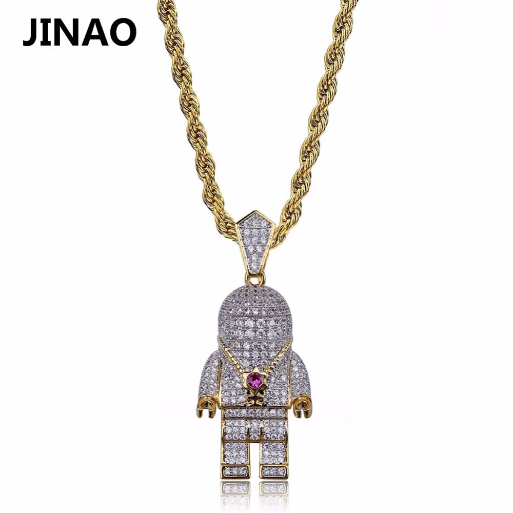 JINAO Hip Hop Street Fashion Gold Color Plated Spaceman Necklace Micro Pave Zircon Iced Out Astronaut Pendant Necklace for Men