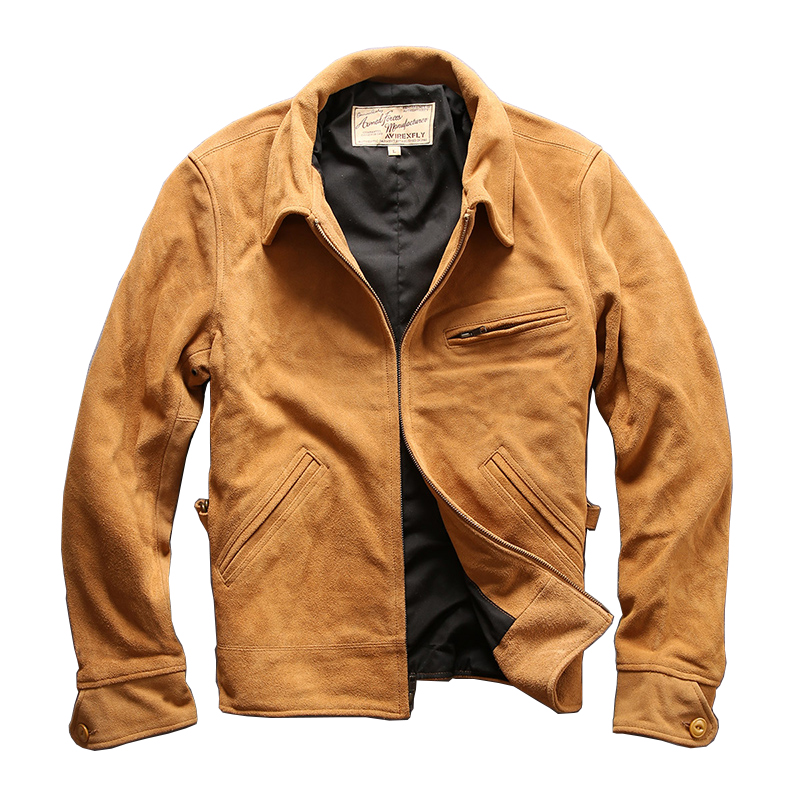 AVIREXFLY men 39 s cow leather mens cowhide coat vintage rider jacket 6A 2 in Genuine Leather Coats from Men 39 s Clothing