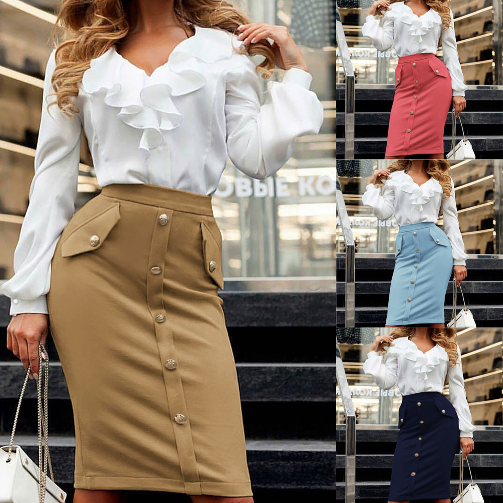 Solid Button Front Pocket Slim Long Skirt Women Summer Elegant Office Lady Bodycon Workwear Skirts High Waist Pencil Skirt 1