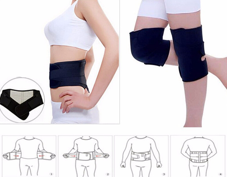 Tourmaline self-heating waist support belt magnetic therapy neck guard knee pad belt waist support thermal protection 4pc/set
