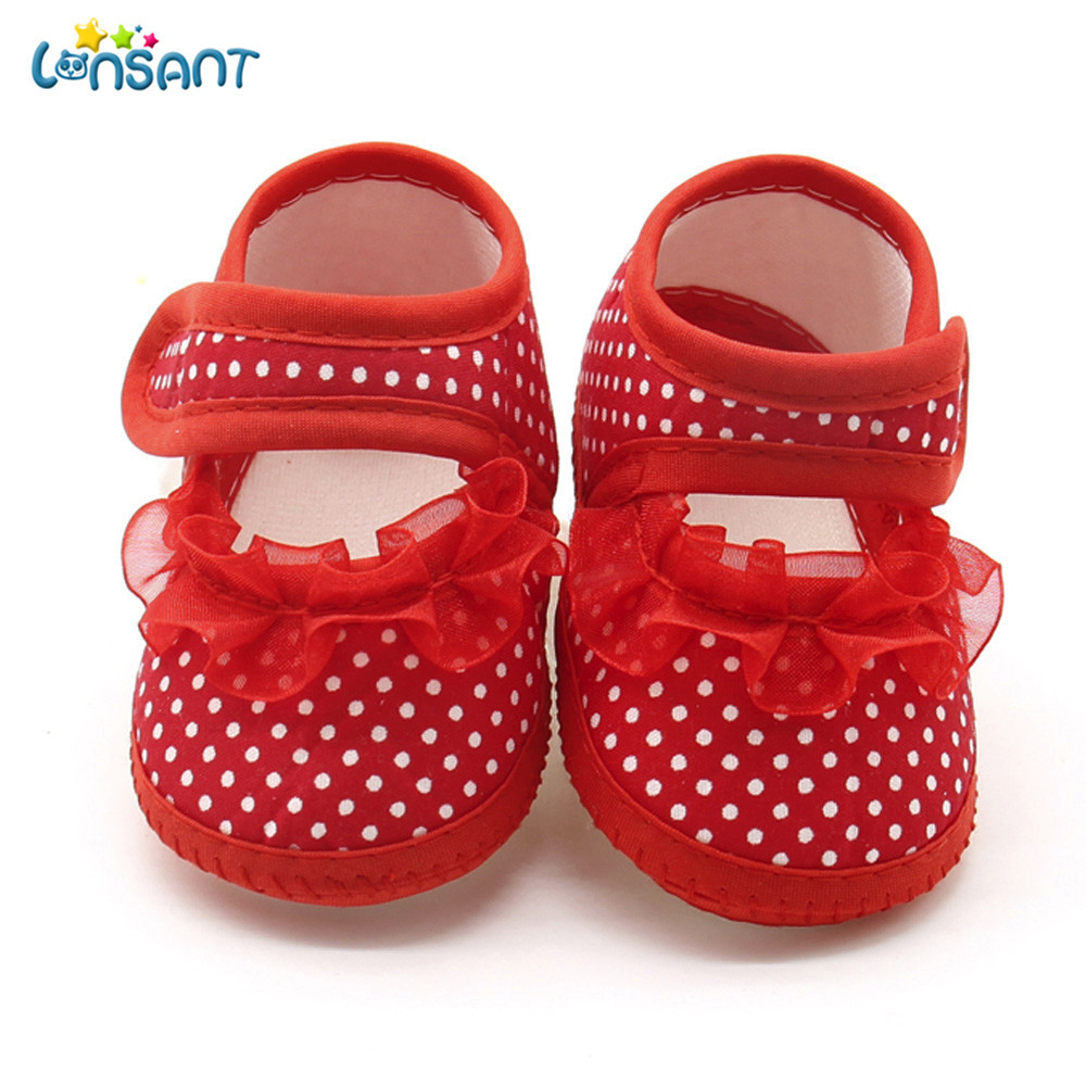 LONSANT Newborn Casual Infant Baby Girls Dot Lace Girls Soft Sole Prewalker Warm Casual Flats InfantBaby Shoes