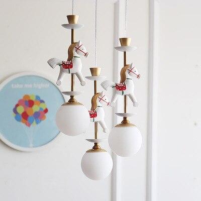 Bande dessinée créative carrousel suspension lampe garçons et filles chambre nordique Simple LED couleur Animal unique tête suspension lampe - 6