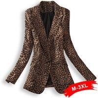 Высокая улица размера плюс Леопардовый принт Блейзер костюм куртка на одной пуговице 2Xl 3Xl женская уличная верхняя одежда повседневное паль...
