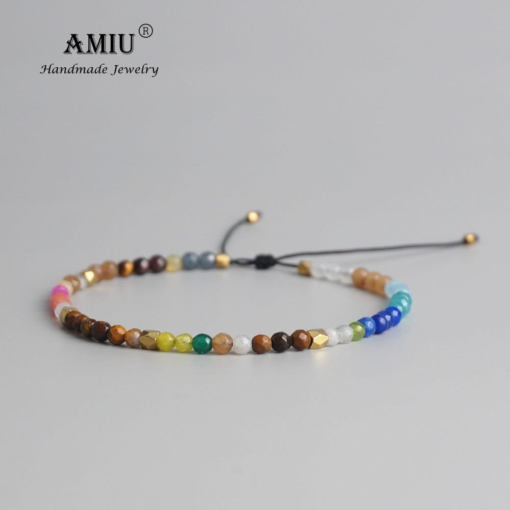AMIU 12 Constellation chanceux pierre naturelle Simple Bracelet perles Bracelet réglable Hollywood cristal perlé bohême Bracelets