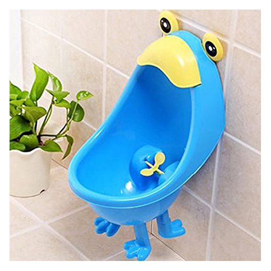 KSOL Baby Boys Urinal Potty Traing Stand Vertical Urinal Groove with Funny Aiming Target (Blue)