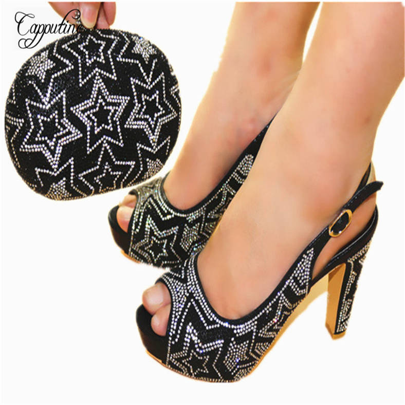 Capputine Hot Selling Italian Woman Shoes With Matching Bag Set Nigerian Style Pumps Shoes And Bag Set For Party On Stock JC602 hot artist hot selling italian pumps and bag set new design high heels shoes and matching bag set for party free shipping yk 568
