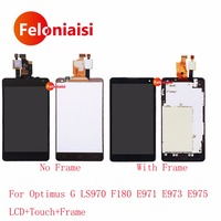 10 Pcs DHL Para LG Optimus G LS970 E971 E973 E975 F180 Lcd Full Screen Display Touch Panel Digitador Assembléia Completo Com Quadro