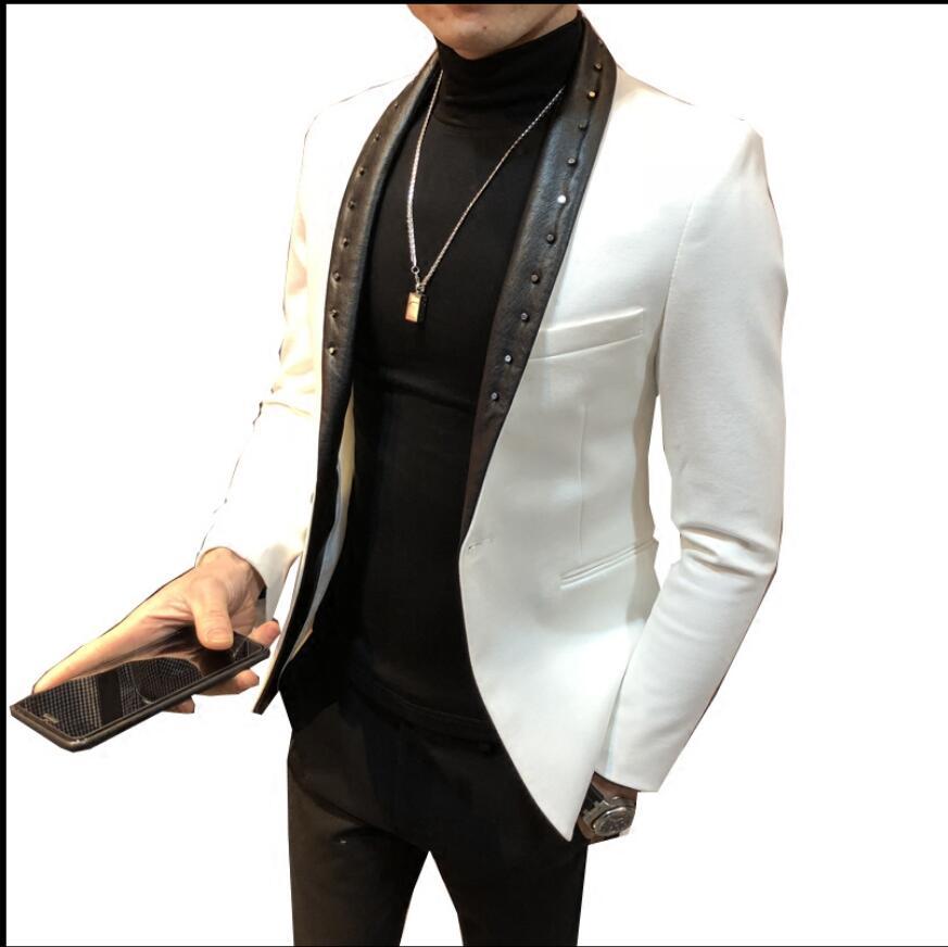 Rebite jaquetas masculina moda ternos vestido anfitrião magro versão coreana do pequeno terno boate barbeiro jaqueta preta primavera e outono - 6