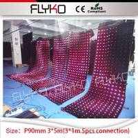 seamless zipper connection 5pcs mini led curtains 3*1m dj video booth 3x5m P9 video curtain