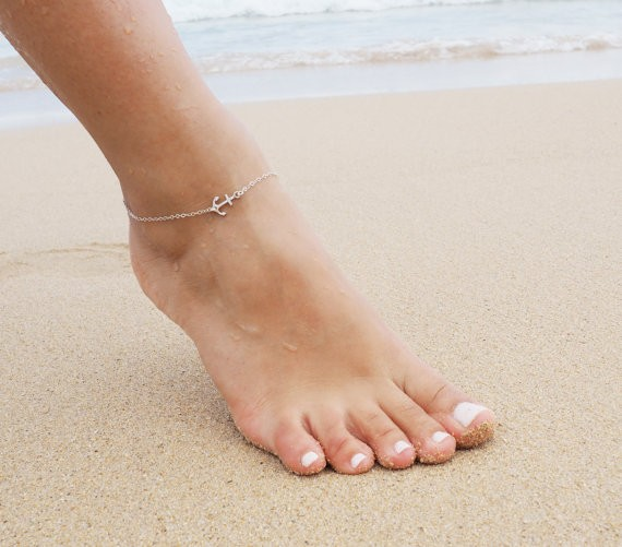 Silver plated chain foot jewelry Simple metal anchor beautiful leg chain & anklets for women