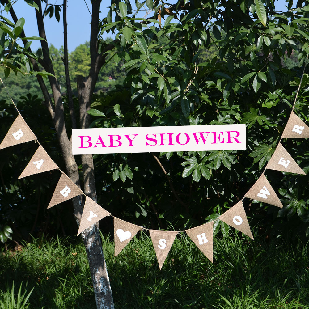 3M Jute Baby Shower Banners Paper Its A Boy Girl Baptism Birthday Party Bunting Decors Baby Boy Girl Hanging Christenings Flags