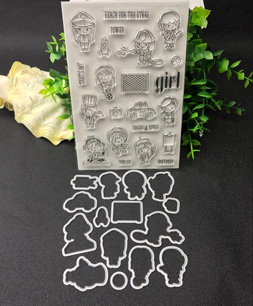 Travailleurs En Métal De Coupe Meurt et timbre Pochoirs pour le BRICOLAGE Scrapbooking/photo album Décoratif Gaufrage BRICOLAGE Papier Cartes de Faire Proj