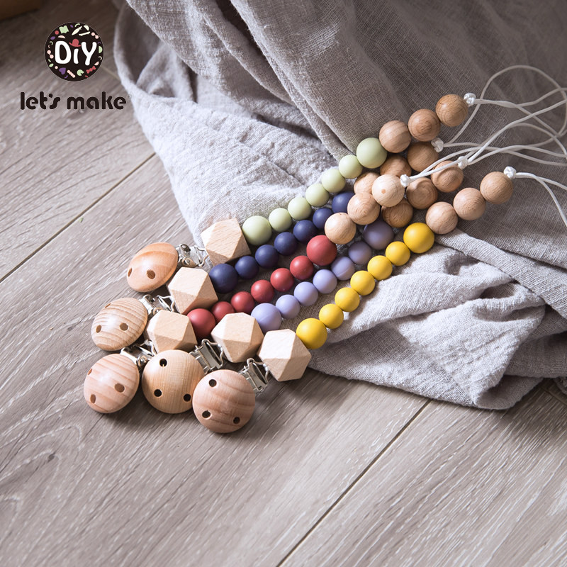 Let's Make Baby Pacifier Chain 1pc Wood Beads 4-6 Months DIY PVC Free Teething For Kids Silicone Beads Baby Dummy Pacifier Clips
