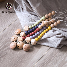Lets make Baby Pacifier Chain 1pc Wood Beads 4-6 Months DIY PVC Free Teething For Kids Silicone Dummy Clips